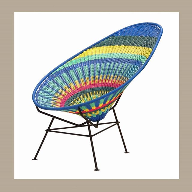 the classic #AcapulcoChair with special multicolor weave by Akele. #customz for the clients 👊👊👊 #hospitalitydesign #outdoorfurniture #hechoenmexico #designlovers #interiorinspo