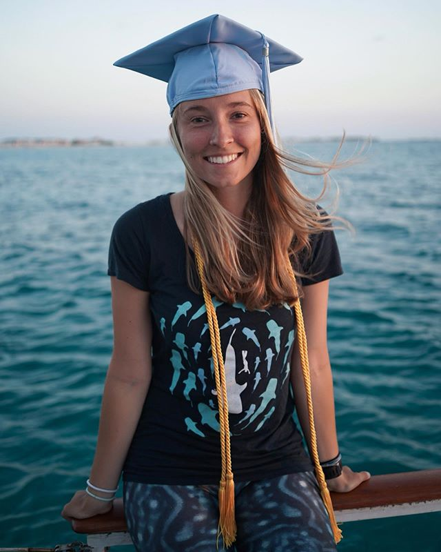 This is a little late, but I thought grad photos would be more meaningful on Stenella, in the Bahamas, clad in full whale shark.  Four years and two degrees later... #GDTBATH?🐬 Thank you @thisisonlytemporaryltd for the photos! 📸😁