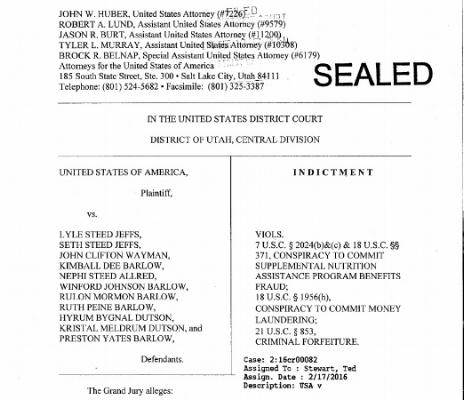 US v Jeffs Et Al. Indictment, 2016