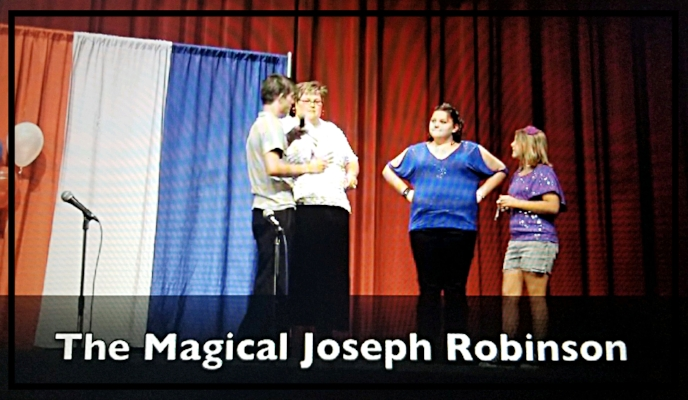 Photo courtesy of John Joseph Robinson | Hosting a magic show at a local Utah high school at the age of 17 years.