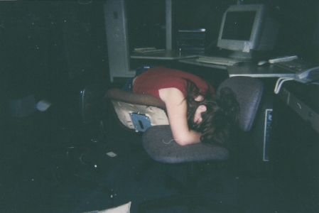 Jessica (Stephanie at the time) passed out working night shift at the Beck Street office when she was 14 years old, photo captured by her sister Andrea.