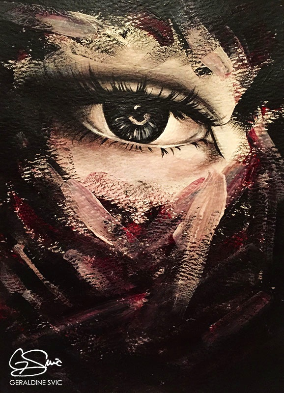 """Triptych: Eye One  """"Triptych: Eye One"""" acrylic painting by Geraldine Svic."""