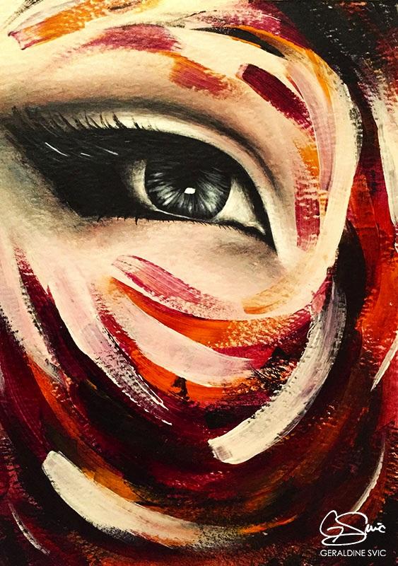 "Triptych: Eye Three  ""Triptych: Eye Three"" acrylic painting by Geraldine Svic."
