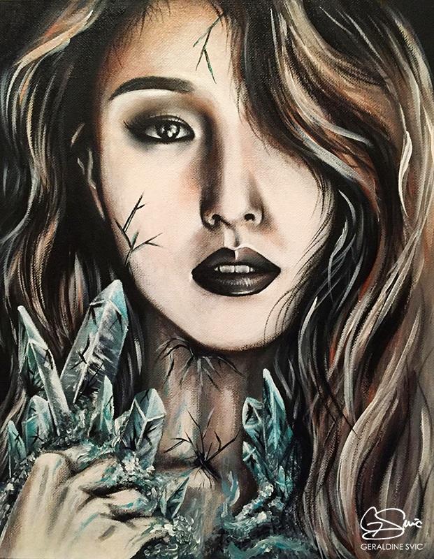 """Osmium  """"Osmium"""" acrylic painting by Geraldine Svic. Portrait of BoA (Kwon Bo-ah)."""
