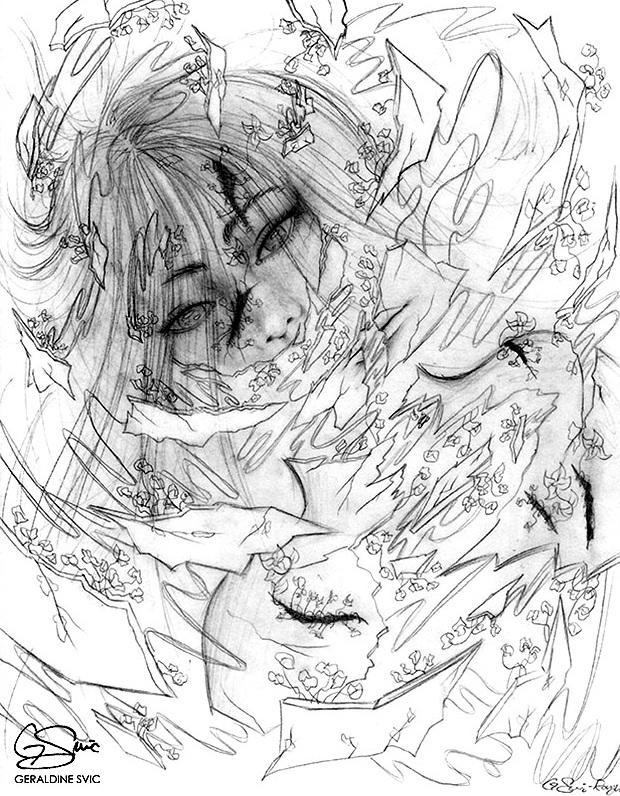 "Kintsukuroi  Sketch II  ""Kintsukuroi Sketch II"" graphite drawing by Geraldine Svic."