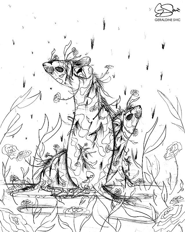 "Rats  ""Rats"" graphite drawing by Geraldine Svic."