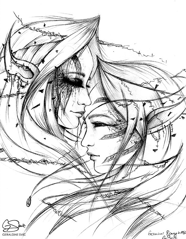 "The Gemini  Sketch  ""The Gemini Sketch"" graphite drawing by Geraldine Svic."