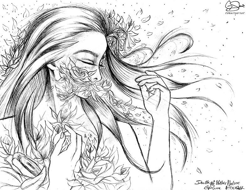 "Eradication of Terra Mater  Sketch  ""Eradication of Terra Mater Sketch"" graphite drawing by Geraldine Svic."