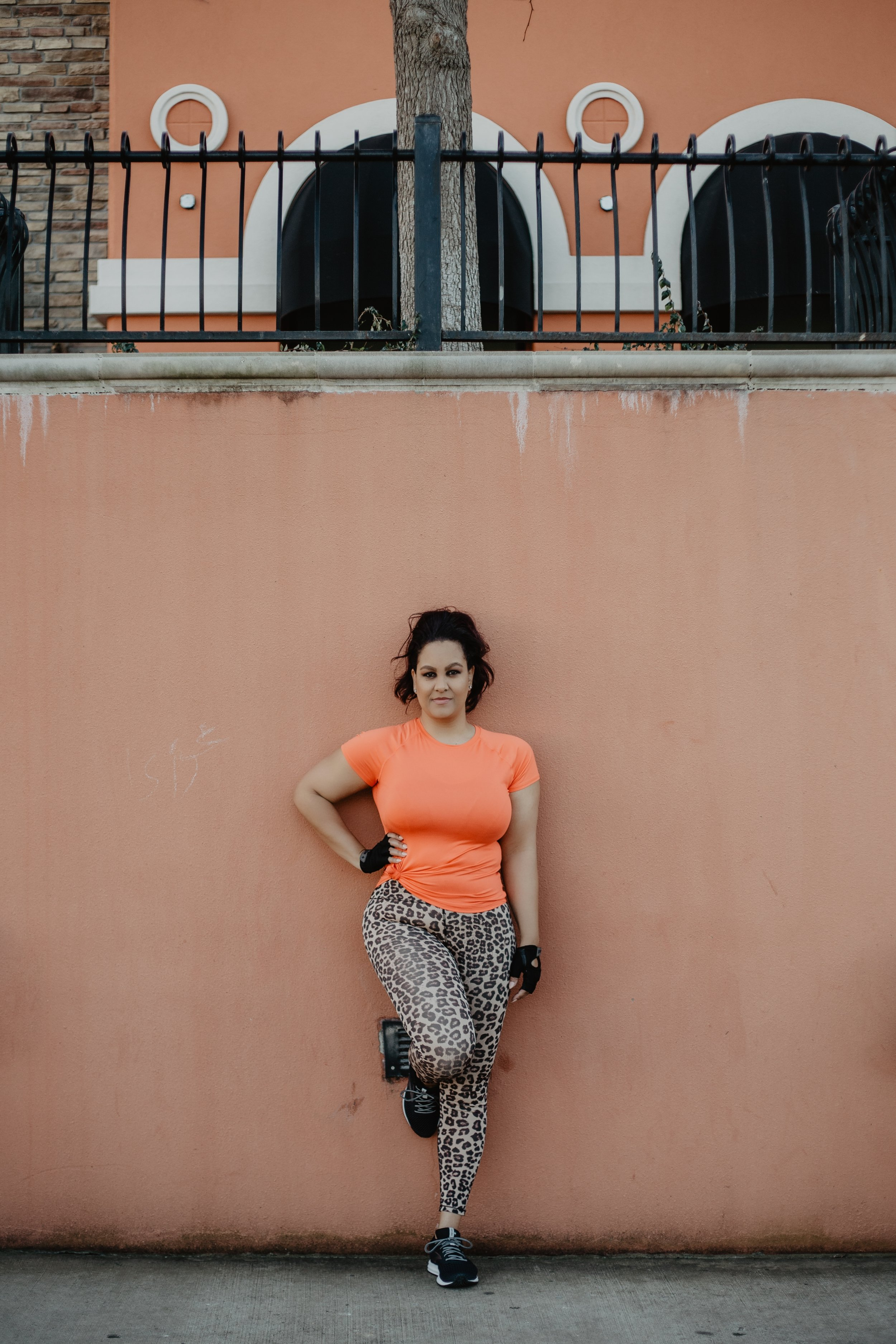 Outfit Deets - Orange Top: C9 Champion via TargetLeopard Print Workout Leggings: Good AmericanGloves: Academy (similar here)Running Shoes: Brooks Revel 2