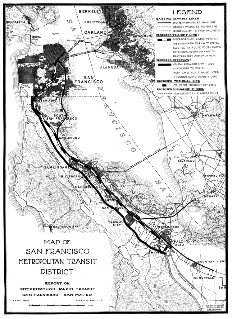 Most Bay Area planning has been focused on cities, not on truly regional transit systems. This is an SF-centric view of regional transit from 1931. Credit: Eric Fischer, CC/Flickr