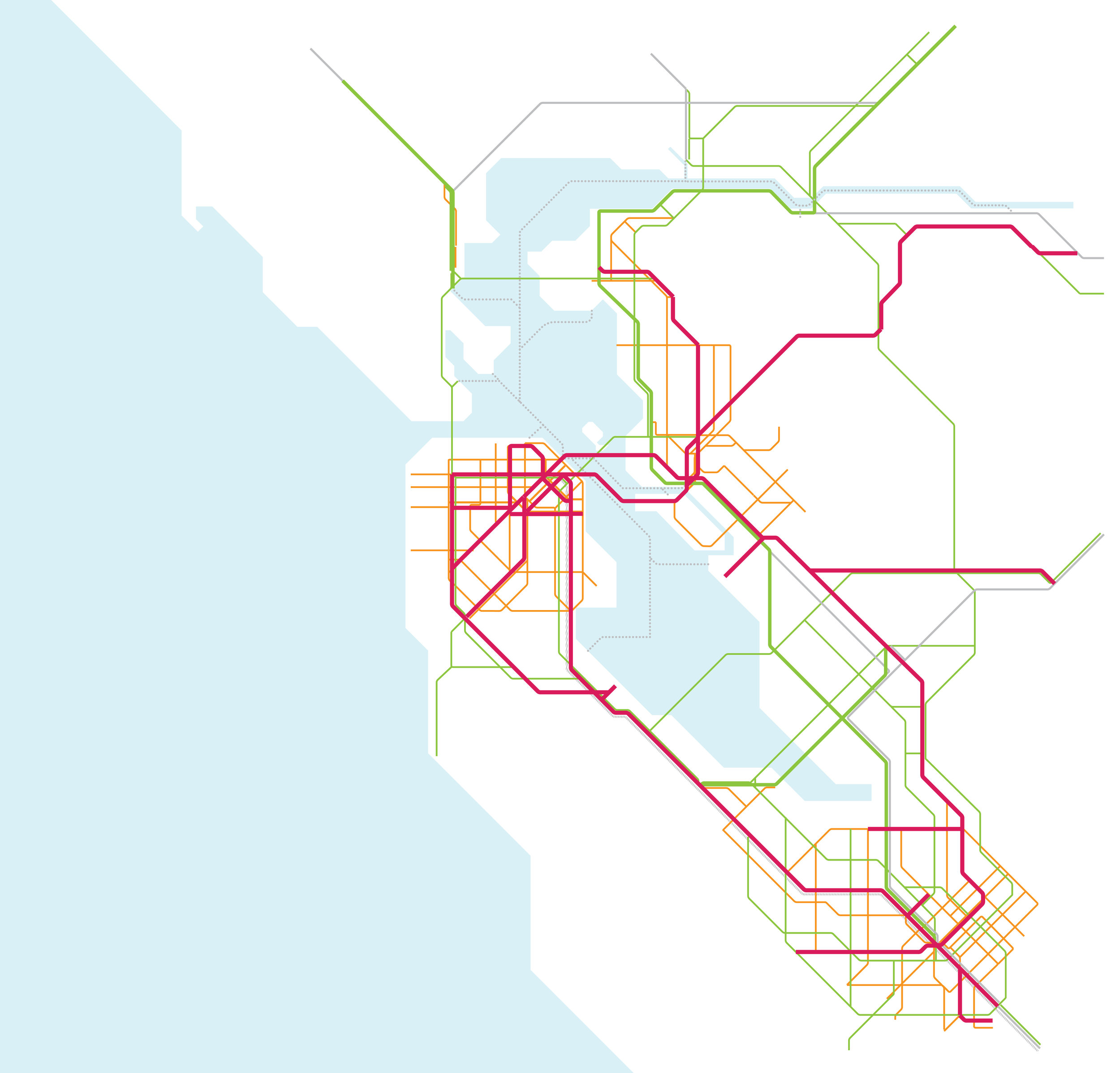 Introduce a regional express bus network; upgrade service on commuter rail lines to create a regional express rail network;