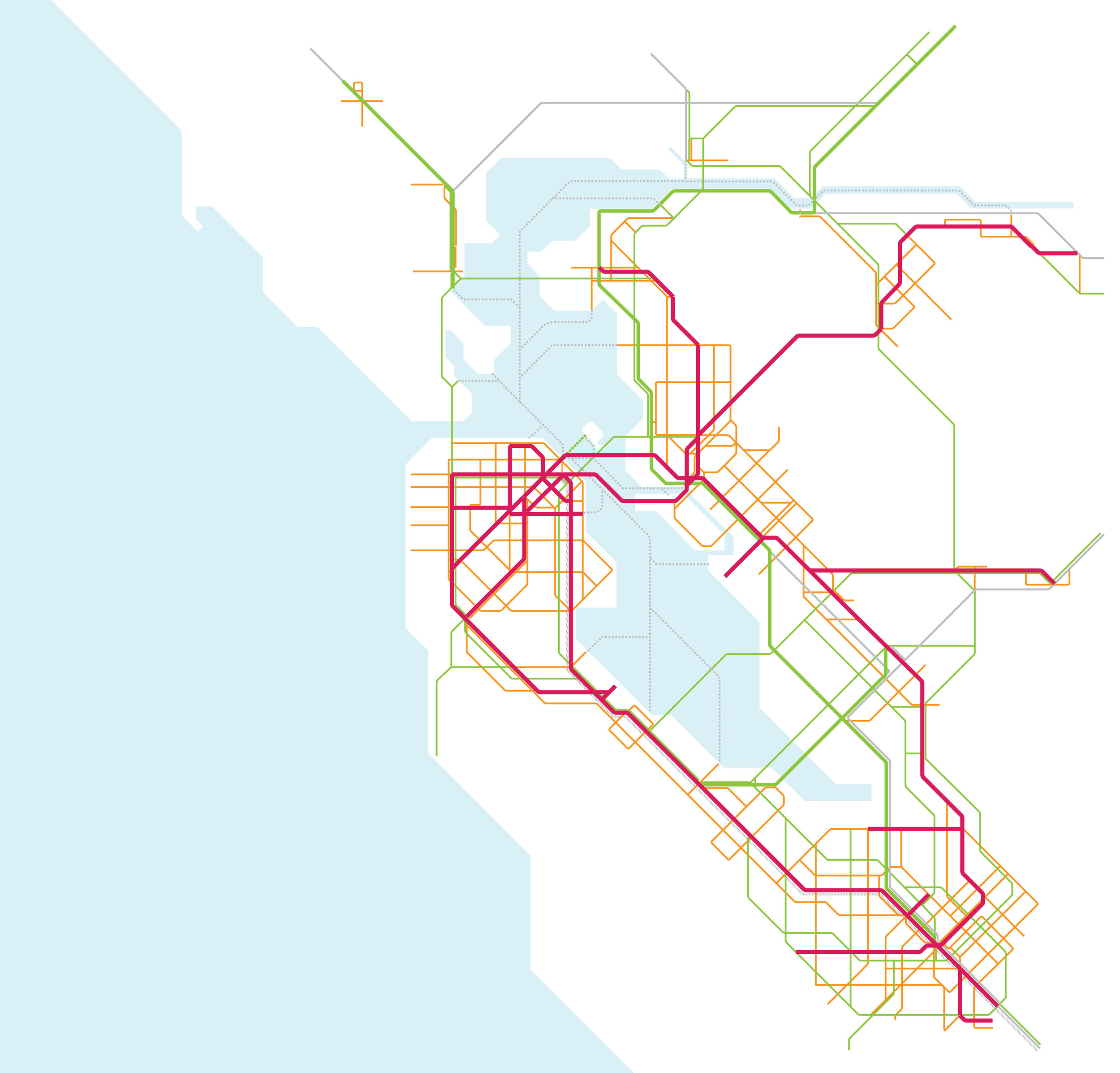 Increase bus service to create a network of rapid bus lines that bypass traffic on major streets throughout the Bay Area, connecting to regional hubs;