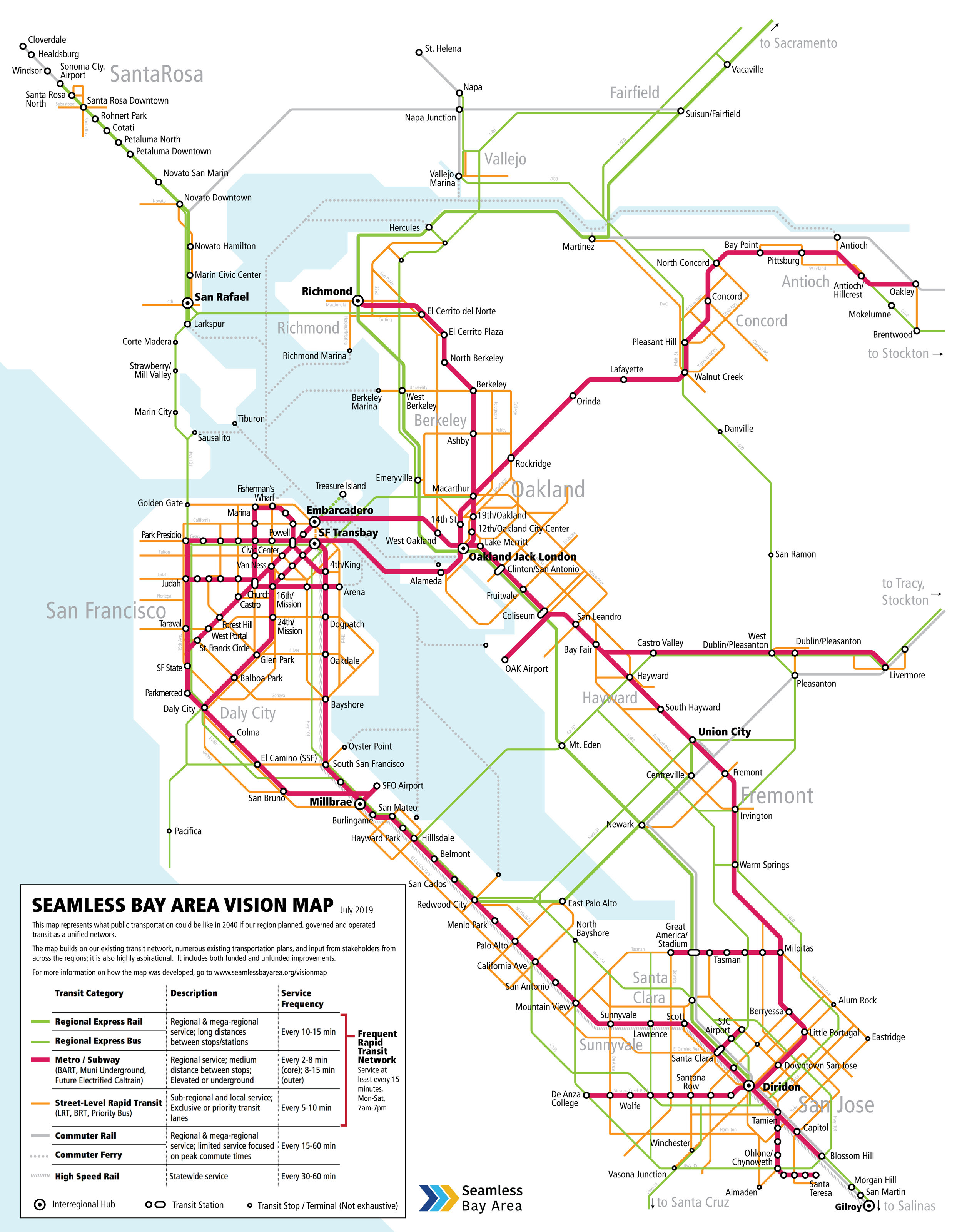 The Bay Area Needs An Integrated Express Bus Network Seamless Bay Area Weekday & saturday service sunday serviceweekday & saturday service mapsunday service map. integrated express bus network