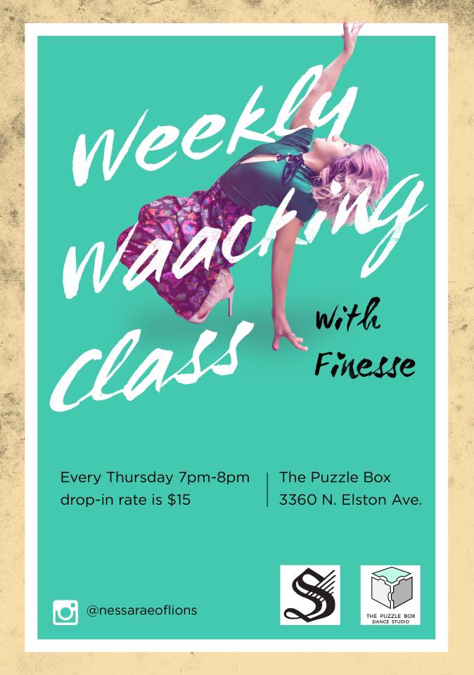 Check out So Swift's Finesse - she has a weekly Waacking class at the Puzzle Box!