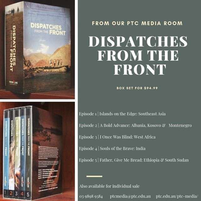"Looking for a good resource for your church, bible study, youth group or family?⠀⠀⠀⠀⠀⠀⠀⠀⠀ .⠀⠀⠀⠀⠀⠀⠀⠀⠀ ""Dispatches from the Front highlights the marvellous extent, diversity, and unity of Christ's Kingdom in our world. The journal format of each episode underscores the daily unfolding of God's activity on the ""frontlines"", bringing viewers up-close with sights and sounds from distant corners of the Kingdom"".⠀⠀⠀⠀⠀⠀⠀⠀⠀ .⠀⠀⠀⠀⠀⠀⠀⠀⠀ If you would like to know more about this fantastic series, contact our PTC Media manager at ptcmedia@ptc.edu.au or place an order via ptc.edu.au/ptc-media/."
