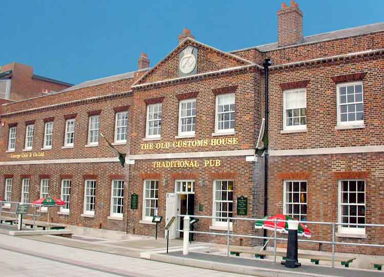 The Administration Building/Captain's offices (now the Old Customs House pub) at Gunwharf Quays (formerly HMS VERNON)
