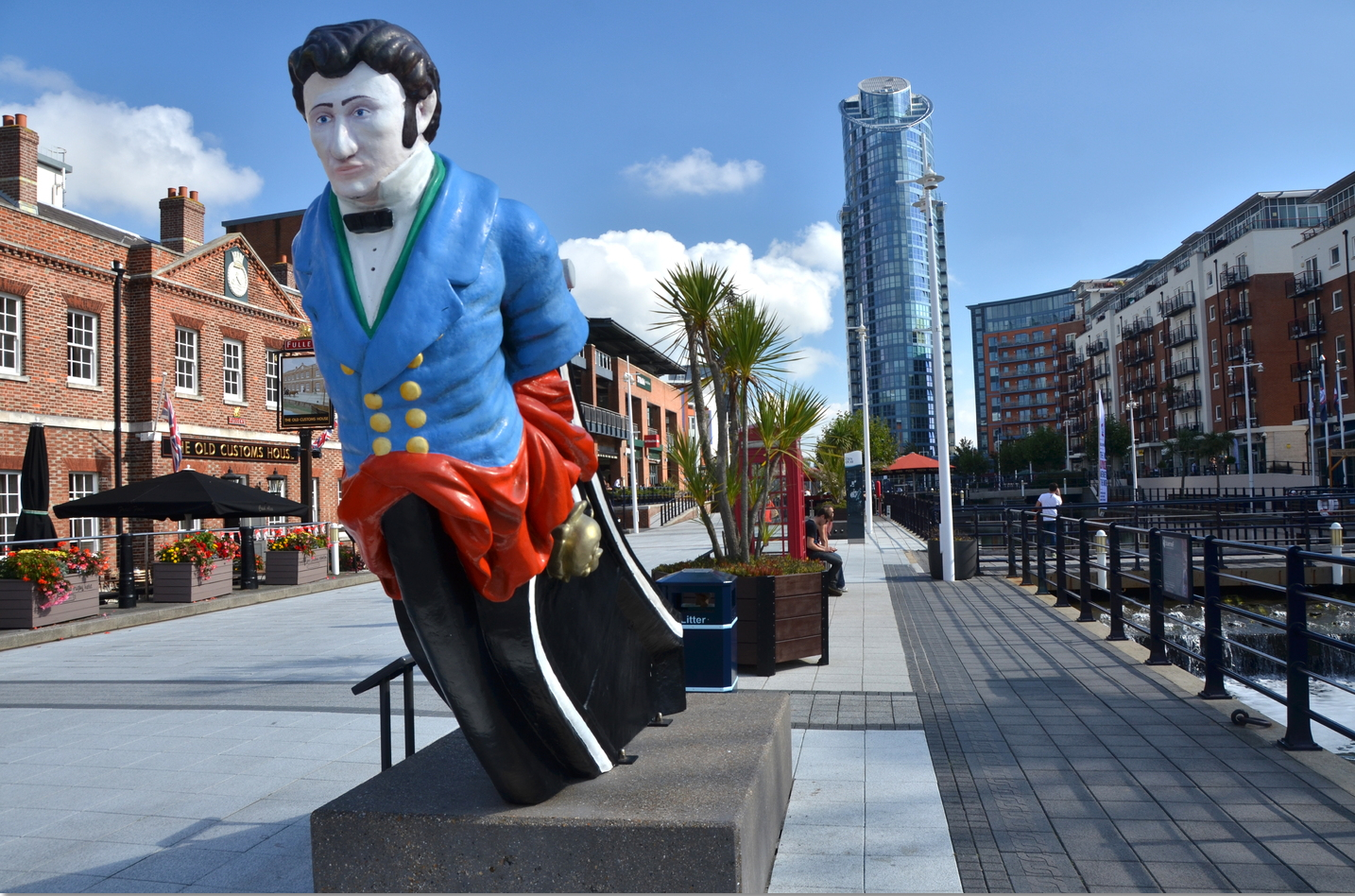 Figurehead depicting the Hon George Vernon from the fourth HMS Vernon, at Gunwharf Quays (formerly HMS VERNON)