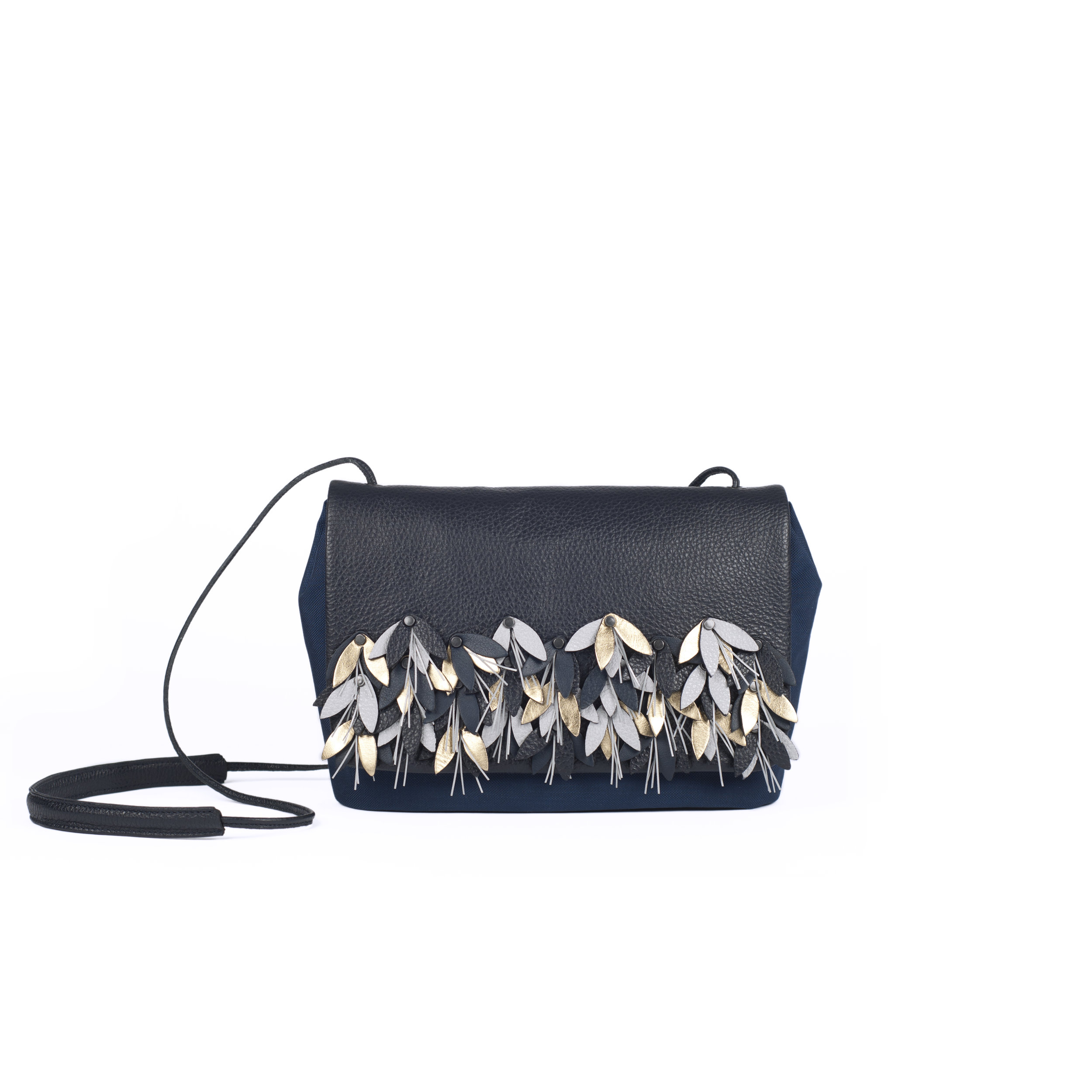 leather clutch handbag with reflective details | Pauline