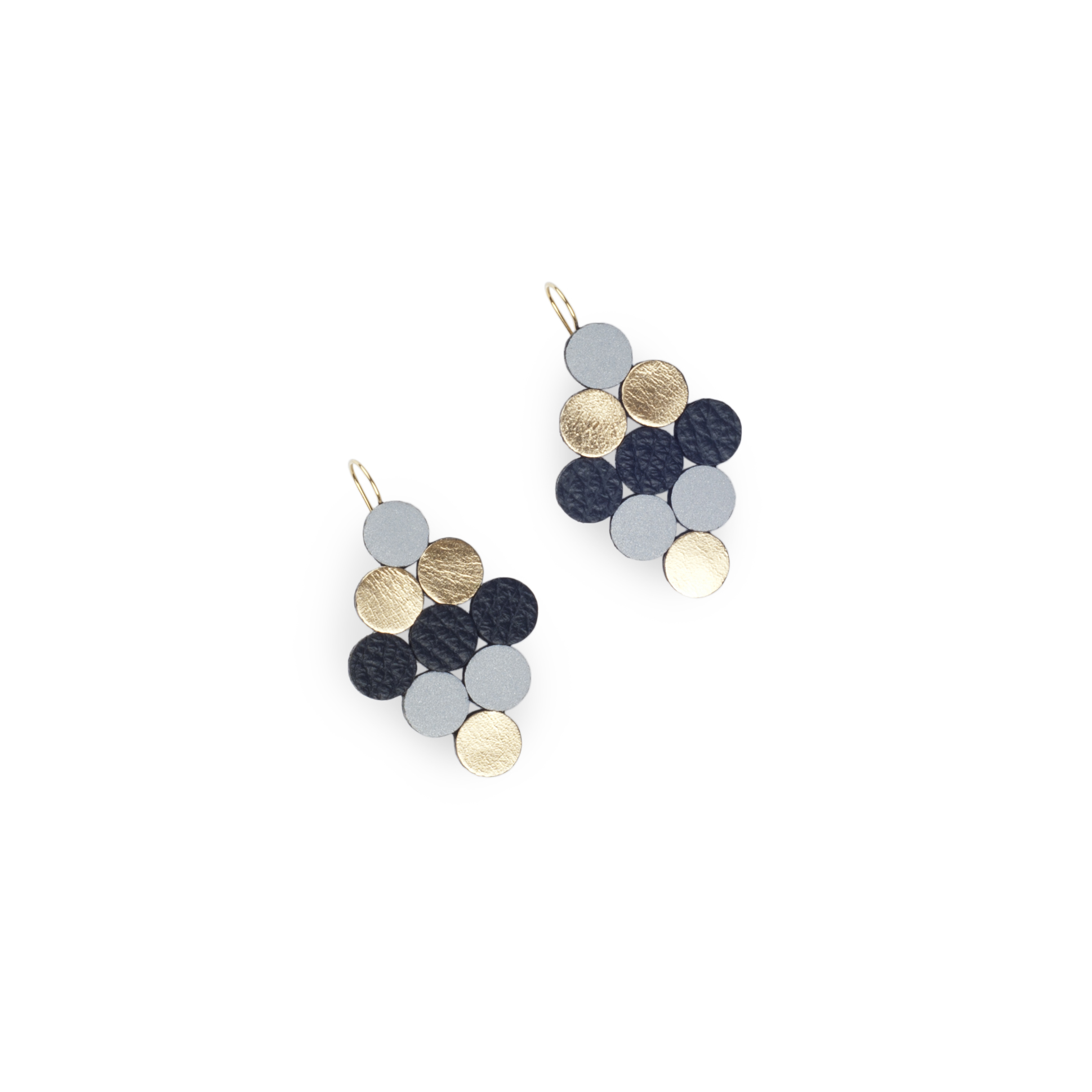 leather earrings with reflective details | Eloise
