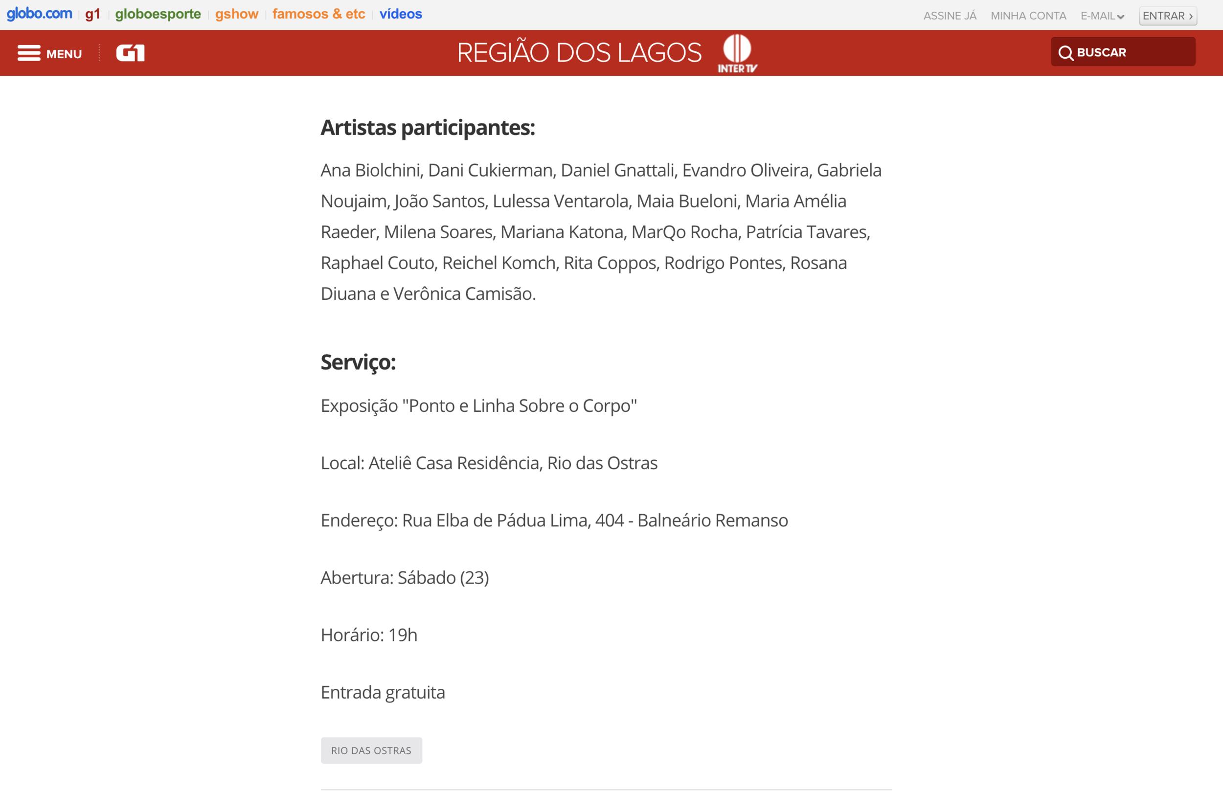 Ponto, Linha e Plano no site G1 -  Curadoria Áureo G. Mendonça
