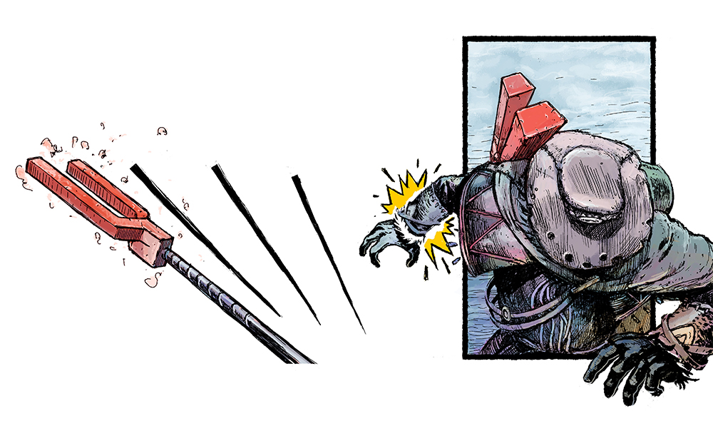 Delivered a well-aimed blow at the Seeker's left arm, forcing him to drop the Artifact.