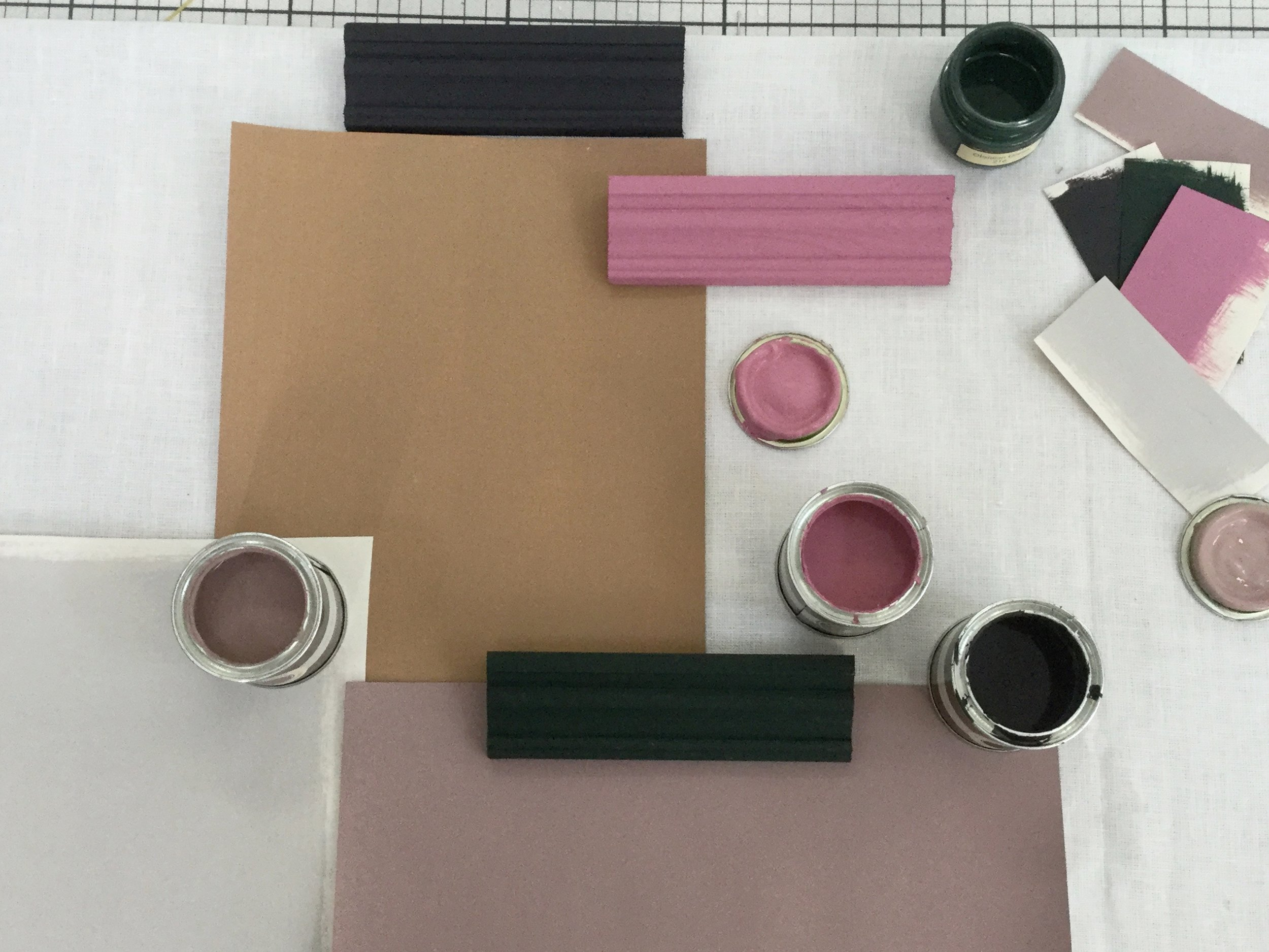 Clockwise from Bottom Left - Elephant's Breath  - Farrow & Ball,  Spiced Honey  - Dulux, Paean Black and  Rangwali  - Farrow & Ball,  Obsidian Green  - Little Greene,  Sulking Room Pink  - Farrow & Ball