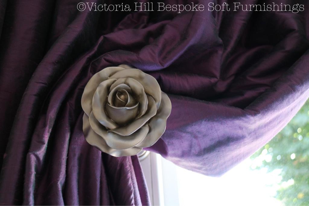Custom rose holdback. Photo Victoria Hill Bespoke Soft Furnishings