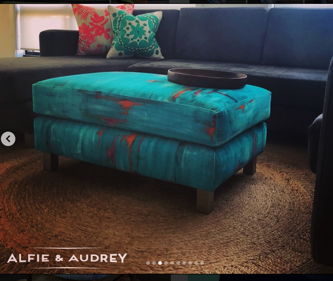 Custom ottoman in cotton velvet 'Perfumes of the Night Abstract Edition' in 'Matisse Green', by Alfie & Audrey, Australia, using fabric by Salon Libertine London.