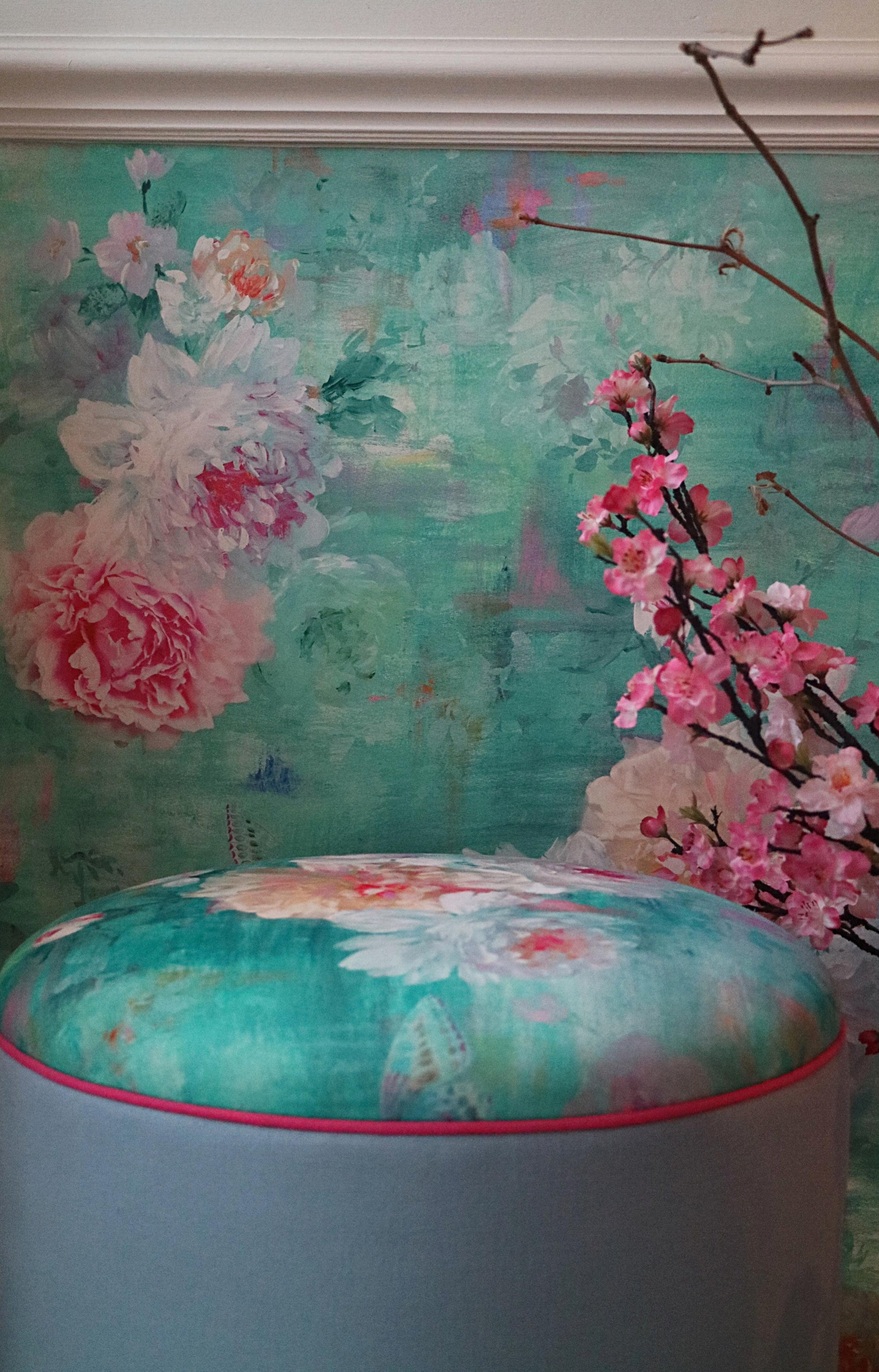 Velvet topped stool and wallpaper in 'Valerie'