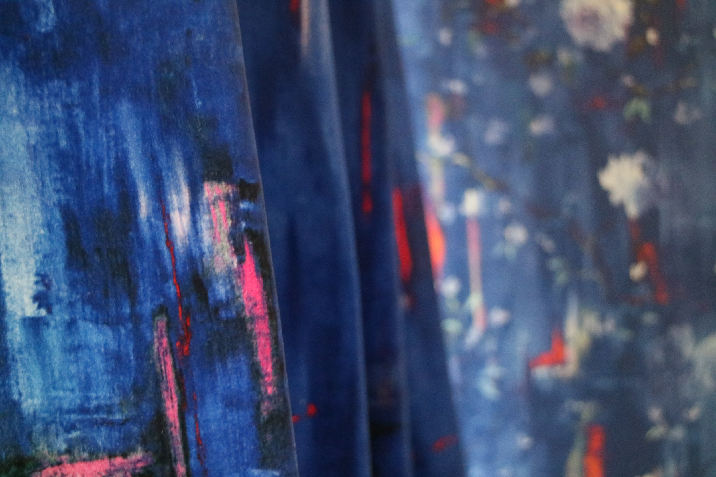 Perfumes of the Night Abstract Moroccan Blue on cotton velvet
