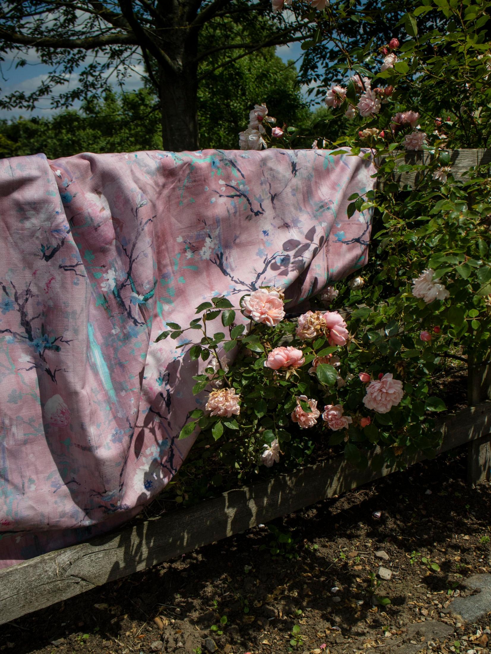 New! Rococo Pink on Irish Linen Union