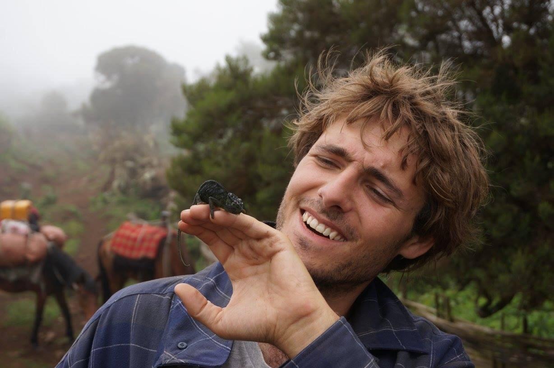 Sam Gandy with his chameleon friend Ron.