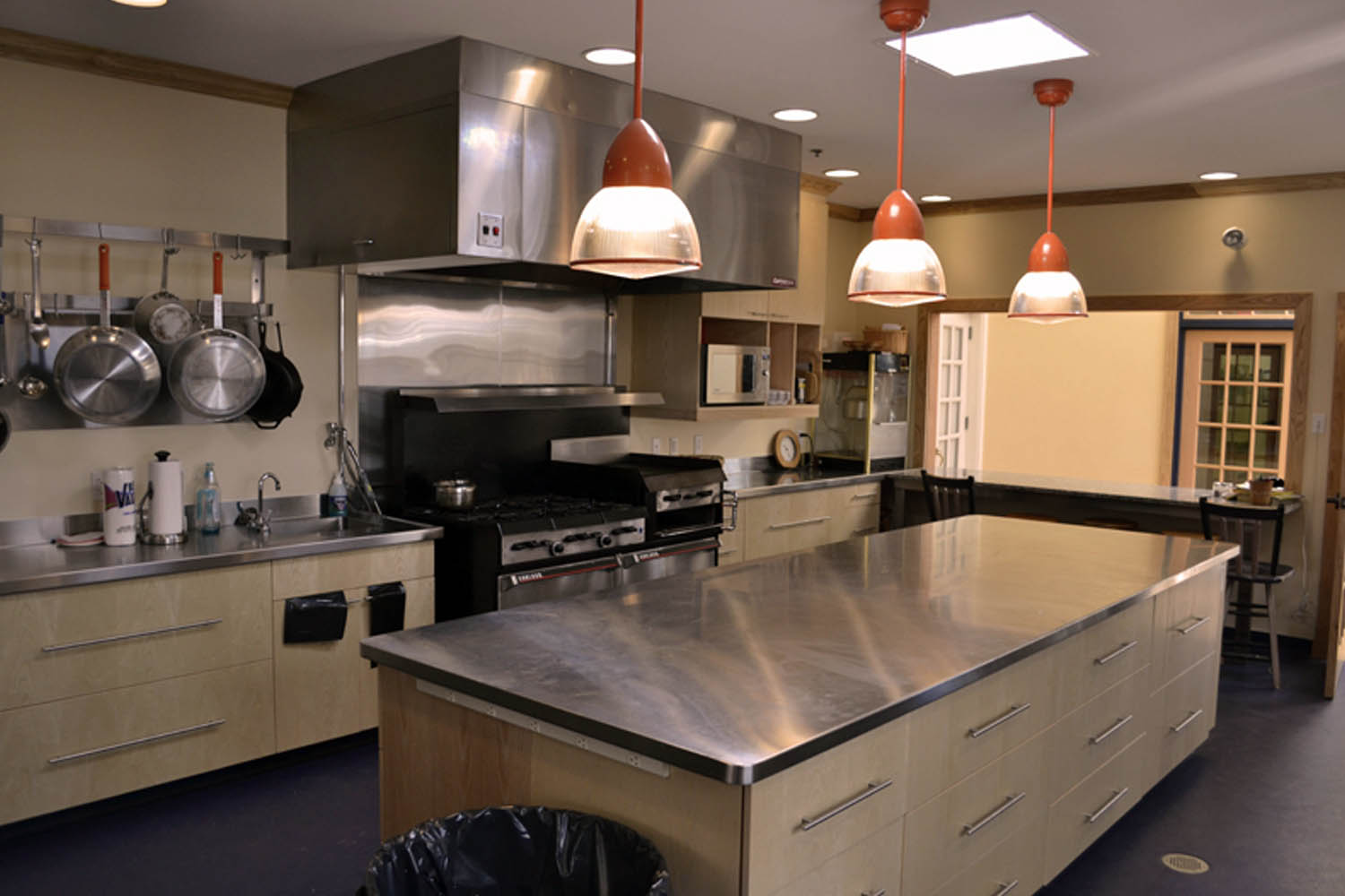 The large kitchen space works well for everything from pot-lucks to catered events.