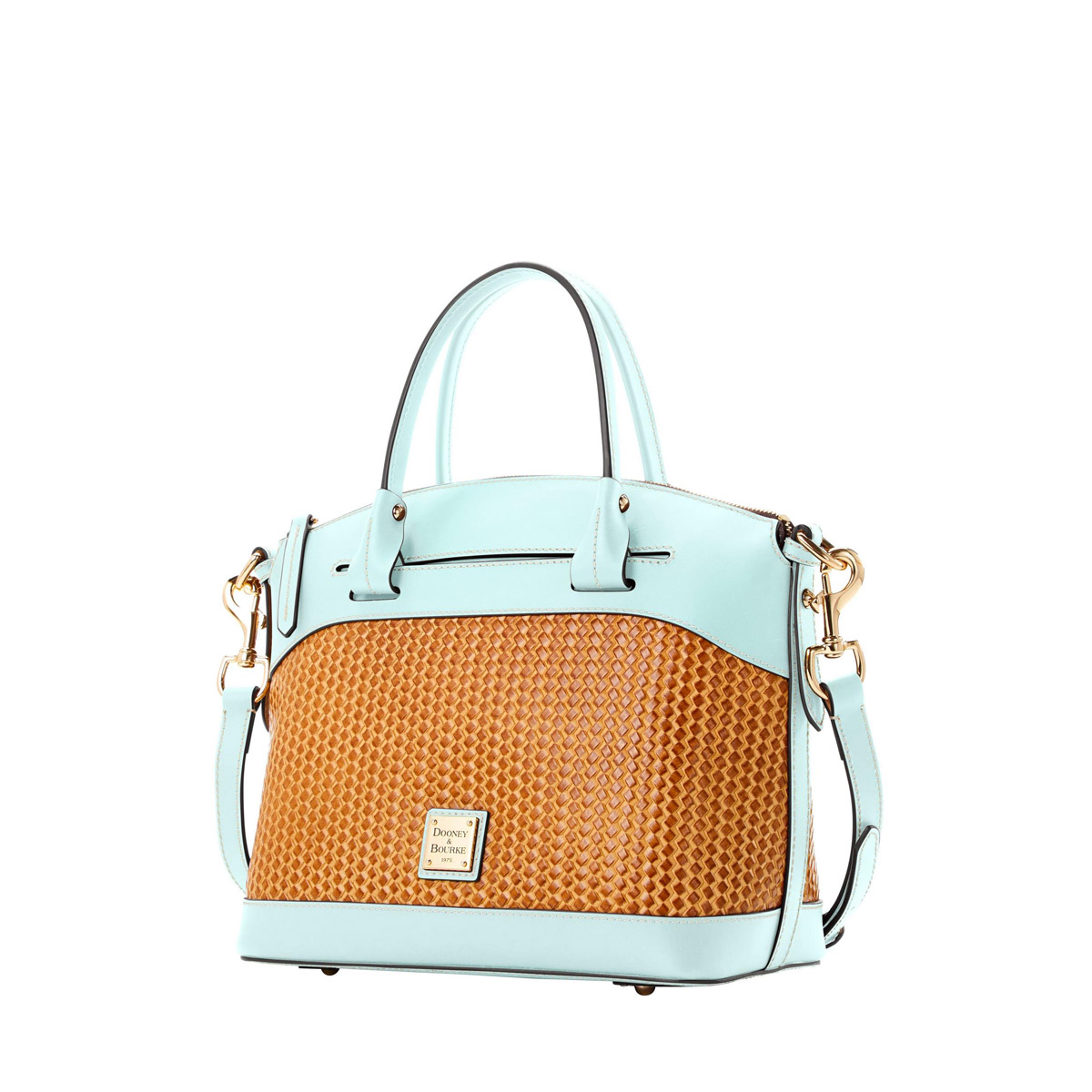 "Dooney & Bourke Domed Satchel - Contributed by D&B, this streamlined domed satchel features a playful ""pale blue"" in combination with a unique basketweave.Retail Value"