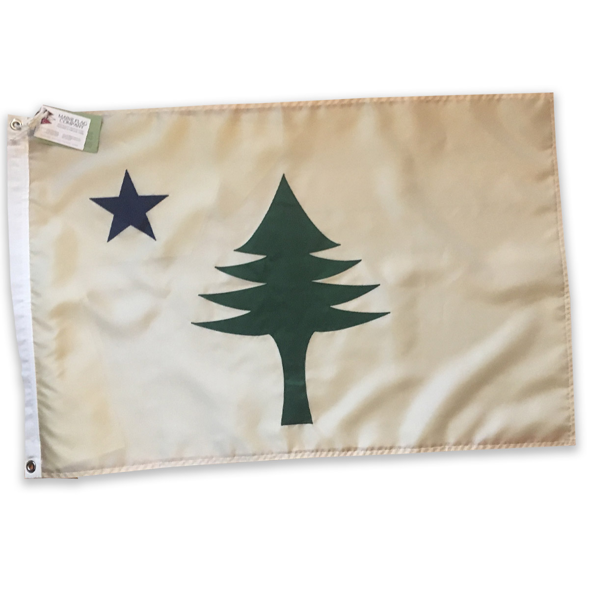 "Original Maine State Flag - Crafted by the Maine Flag Company in Portland, this re-creation of our great State's original flag (1901-1909) was generously provided by the Lincoln family. Perfect for indoor or outdoor use, measuring 24"" x 36"".Retail Value: $70.00"