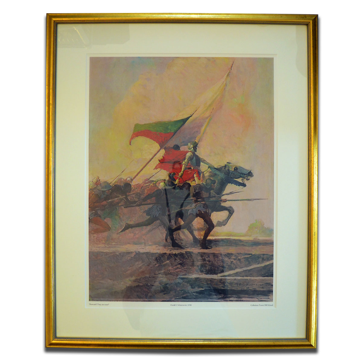 """Framed Limited Edition Print - This reproduction of the Frank E. Schoonover oil painting, """"Forward! They are ours!"""" was just one of 1,000 commissioned in 1985 by the Princeton Press. Generously contributed to the auction by the Lincoln Family, this framed piece measures 27"""" x 36"""" and makes a statement on any wall in the house."""