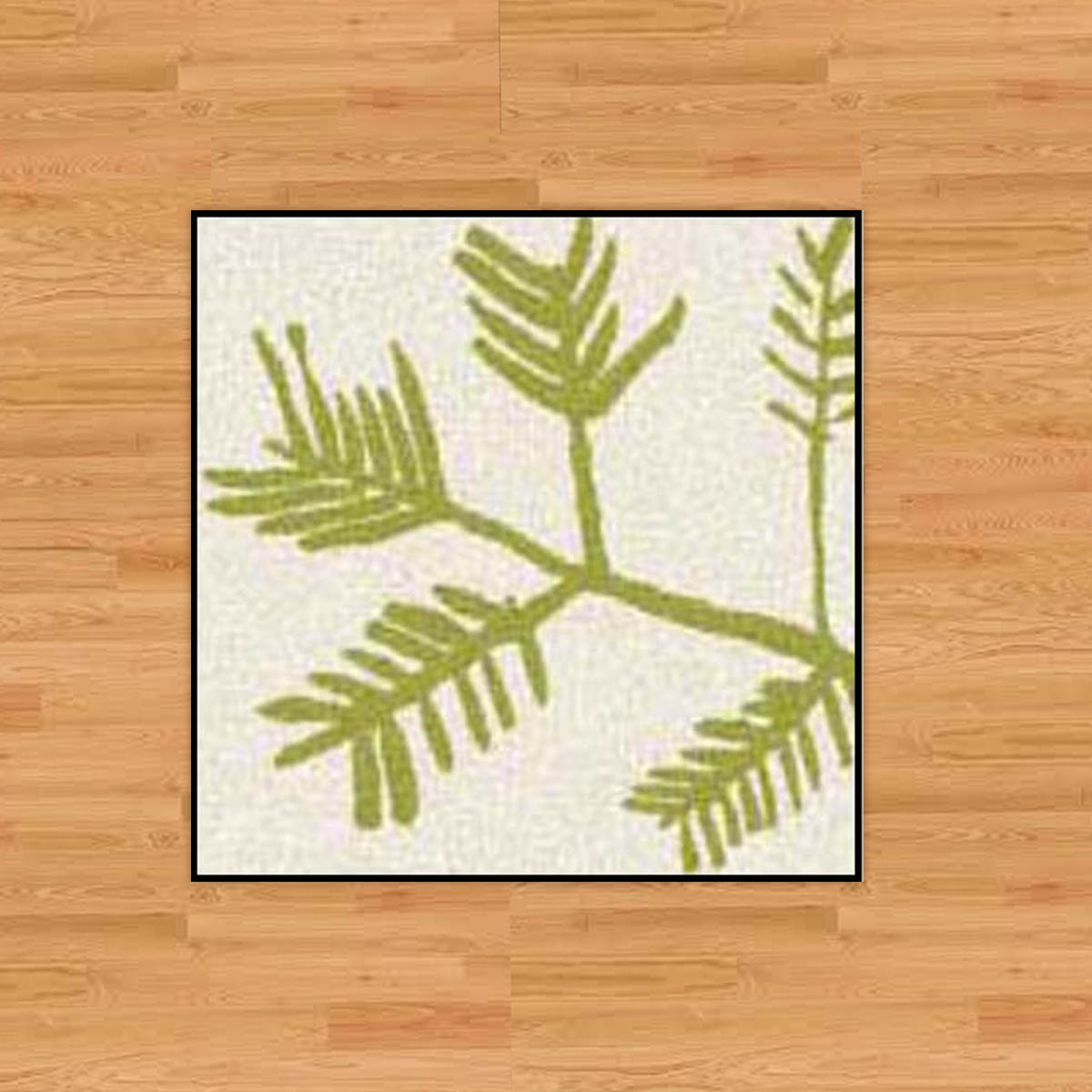 "3x3 Milliken Rug - The design on this unique run is called, ""Frond,"" and at 3'x3' with a rubber backing, it can add some color and durability to small entryway or landing. Designed by David Milliken.Retail Value: $116.00"