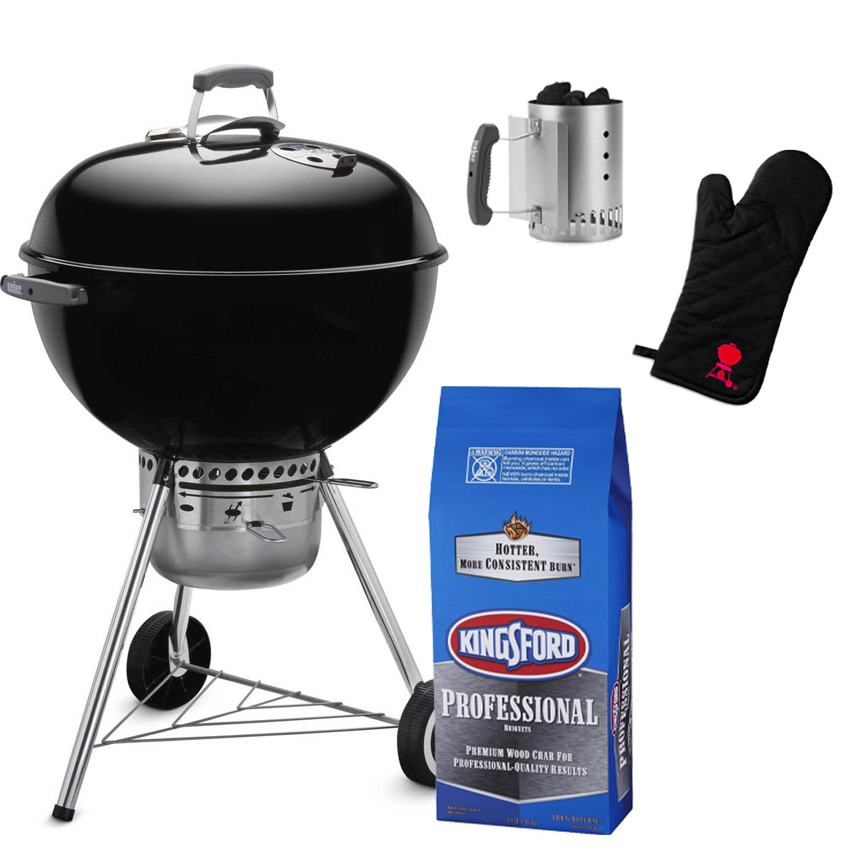 """Summer Grilling Basket - Everything you need for the perfect summer cookout! This basket includes a classic 22"""" Weber Charcoal Grill (Retail Value: $165.00), along with a bag of Kingsford charcoal, Weber chimney starter, and even a mitt in case things get a little hot. You can practically hear the sizzle now!"""