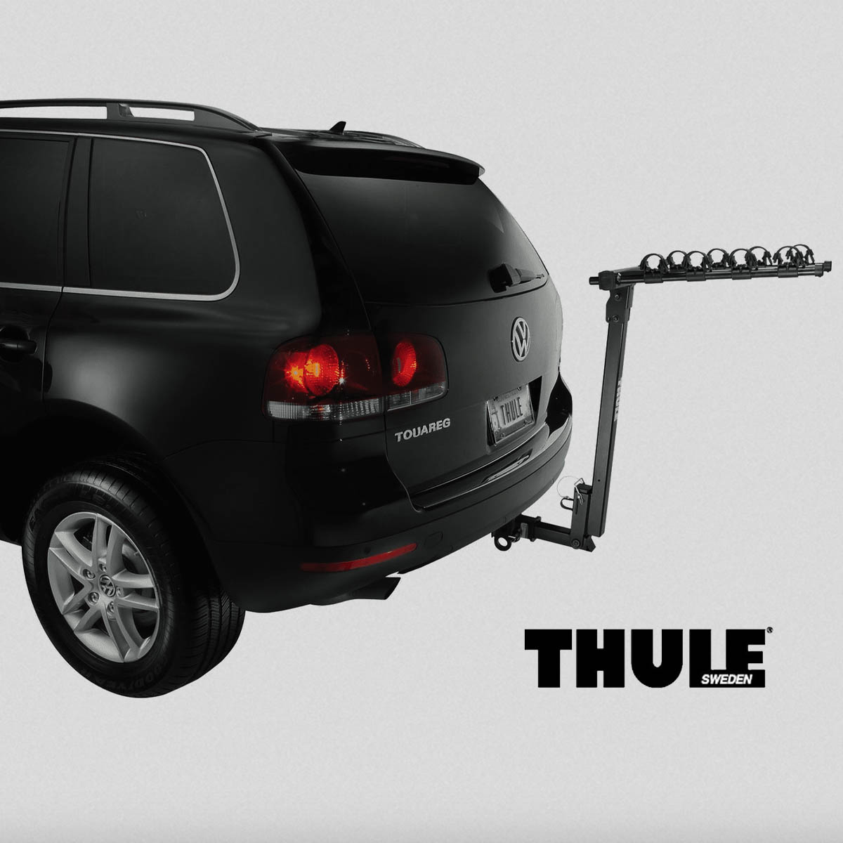 THULE hitch style rack - This Thule Parkway 957 hitch style bicycle rack will cary up to four cycles— perfect for the whole family! This well constructed bike rack, generously provided by the Gleason family, includes soft rubber cradles to protect the frame while keeping each bike secure.Retail Value: $240.00