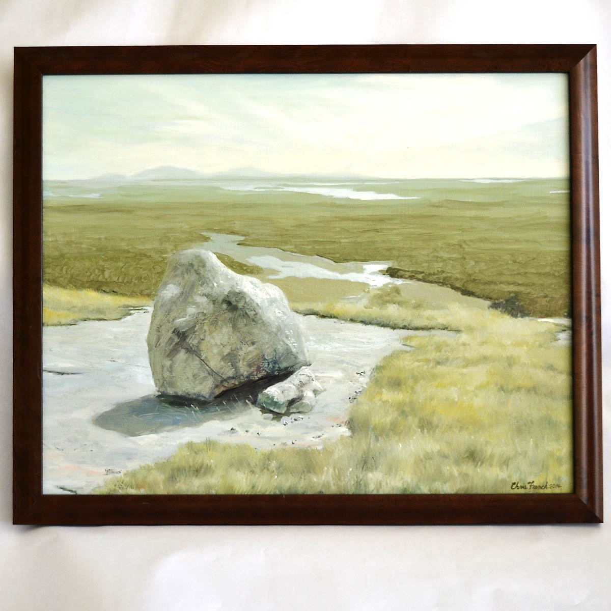 """- """"Schoodic Mountain"""" is an original oil painting by artist Christopher French. Measuring 20x16"""" the piece highlights the views from the Schoodic Peninsula with the peaks of MDI rising in the background.Retail Value: $1200.00"""