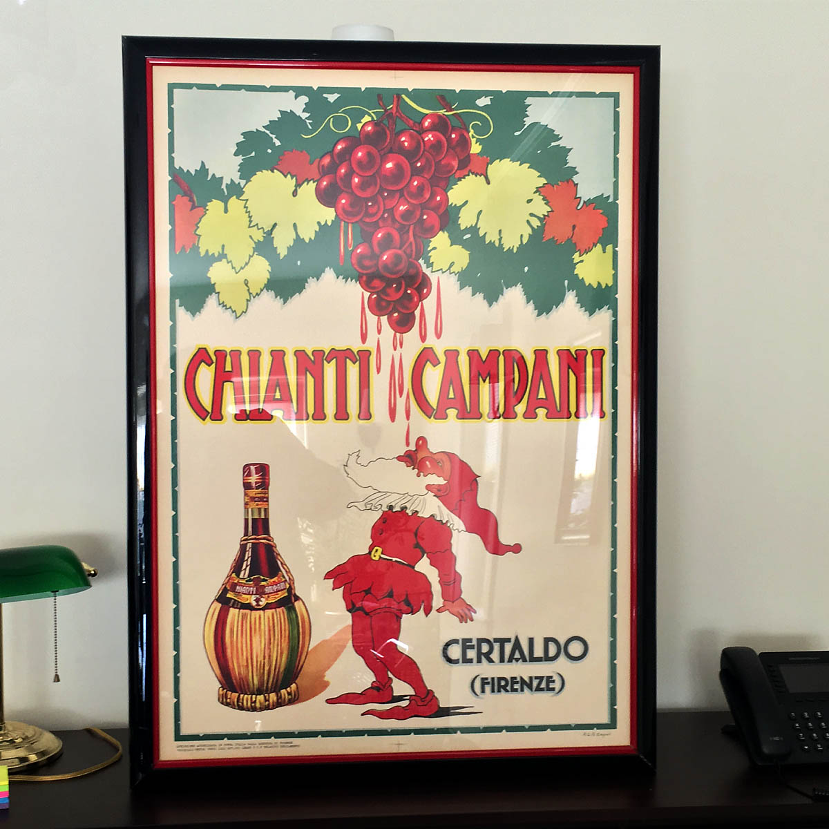 "Vintage 1940s Wine Poster - Vintage advertising, especially for European spirits, is very popular these days. This example generously provided by the Gleason Family is framed and ready to liven up any at-home entertaining area. This print for ""Chianti Campani"" of Italy is circa 1940s, and not a modern reproduction. Cin cin!"