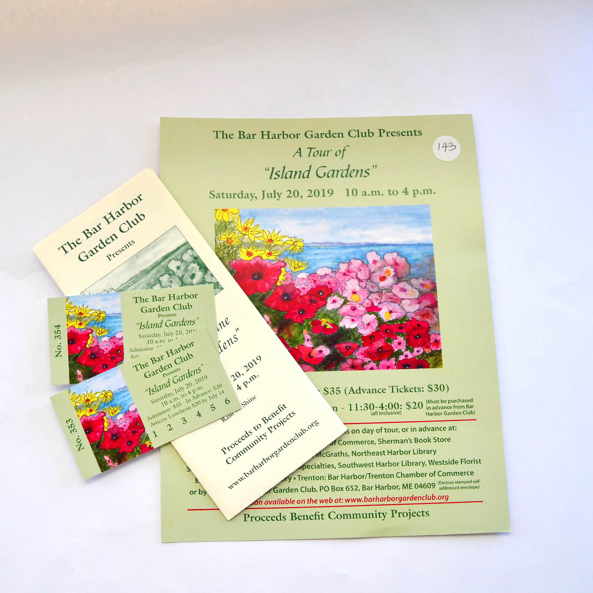 Garden Tour & Lunch - Our friends from the Bar Harbor Garden Club have generously provided two passes to their July 29 Garden Tour along with two tickets to stop for a buffet lunch at the Asticou Inn. What an enjoyable way to spend a day!