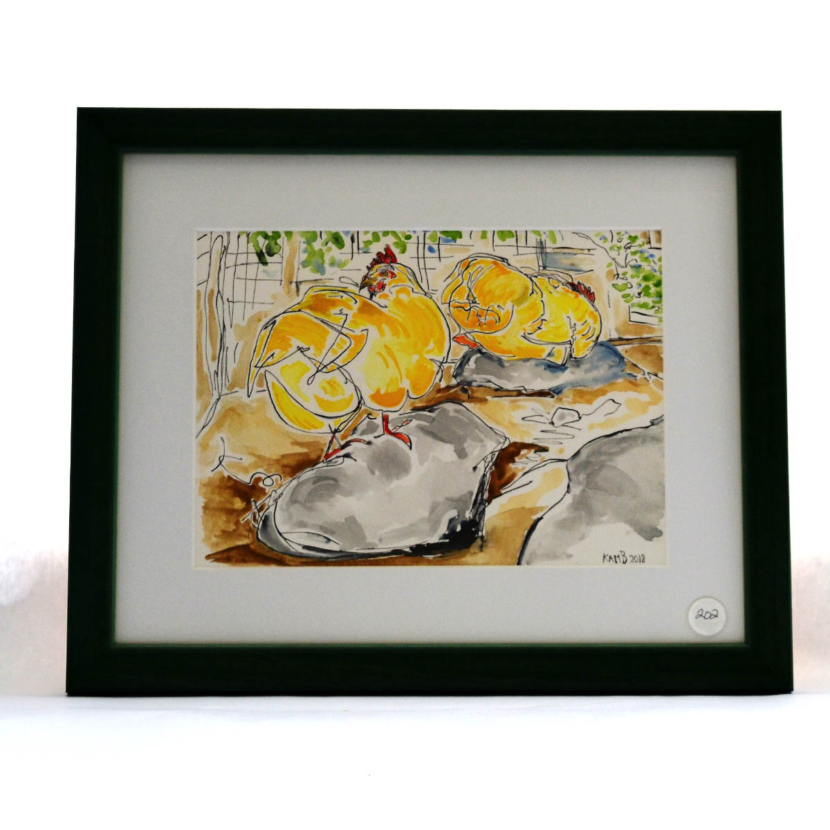 "Watercolor & Ink - Generously painted and contributed by Katie Bell, this framed picture is bright and cheerful in nature and would be a great addition to any any home. The combination of vibrant watercolors and ink really make this framed painting ""pop."""