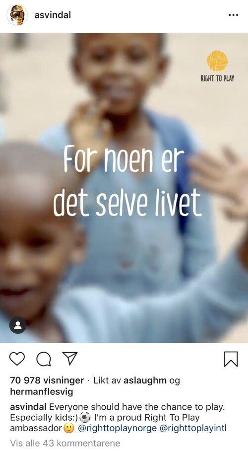 Skjermbilde fra Aksel Lund Svindal sin instagrampost.