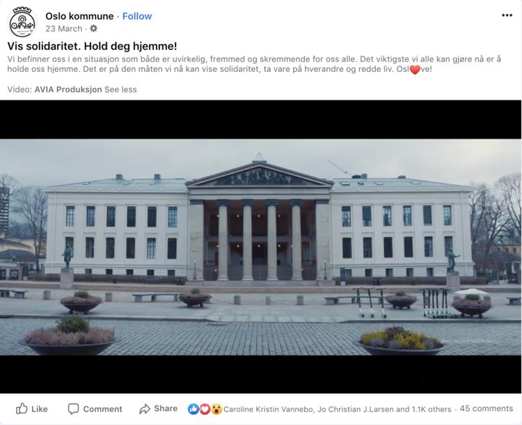 Skjermbilde av Oslo Kommune sin Facebookpost.