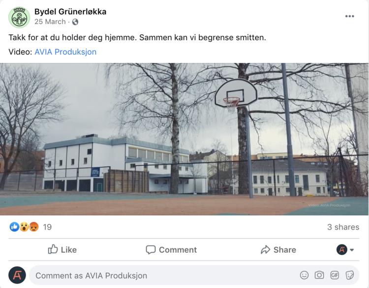 Skjermbilde av Bydel Grünerløkka sin facebookpost.
