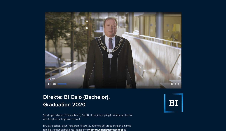 Eksempel fra BI sin graduation i 2020, der nettsiden ble tilpasset BI sin profil.