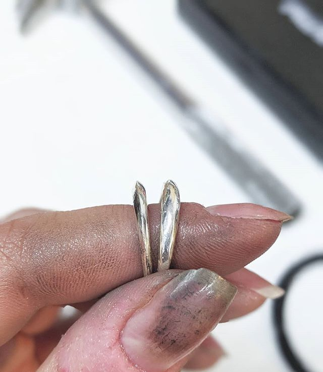 As a bench jeweler, my process in the studio begins with wax, but sometimes a wax piece is so delicate it can only be taken so far before I need to work in metal to complete the piece and bring it to life. . A perfect example is the newest piece from the Winter 2019 collection—the Helios Ring. Born of the more organic Eclipse Ring, it was filed and shaped in silver to achieve its delicate and precise structure. . The Helios and Eclipse Rings / solid sterling silver. Available November 1 in the shop. Check back October 20 for a special autumn treat. . . #benchjeweler #brooklyn #nyc #supportsmallbusiness #womenownedbusiness #handmadeinnyc #handmadejewelry #goldenewyork #silver #gold #manhattan