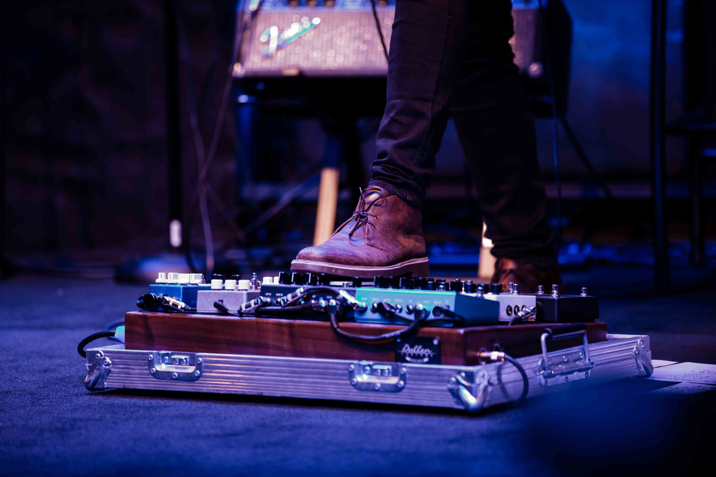 Worship guitarist foot board