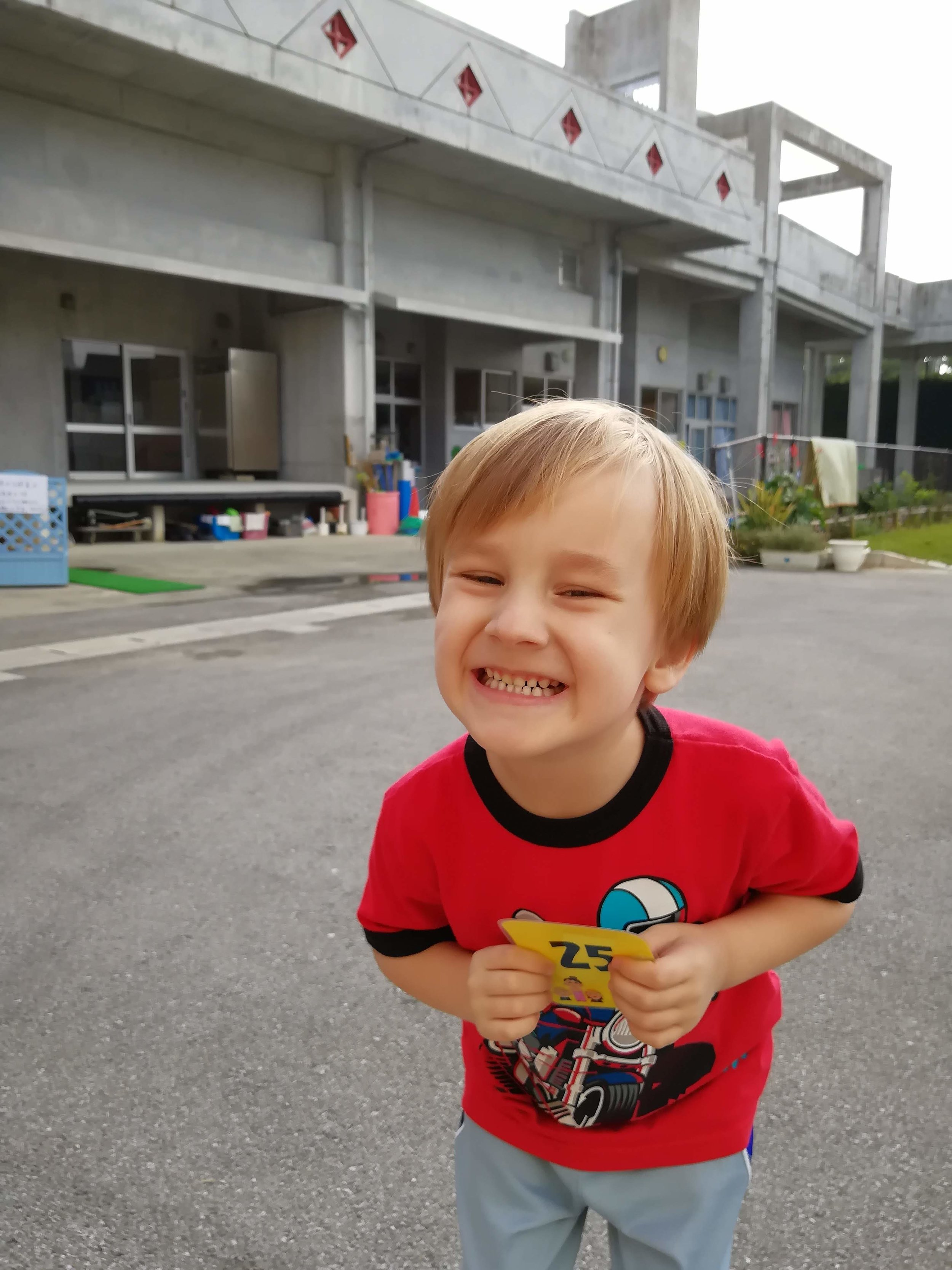 Hezekiah is very excited to start at the Japanese Kindergarten this next April! We went and registered last week.